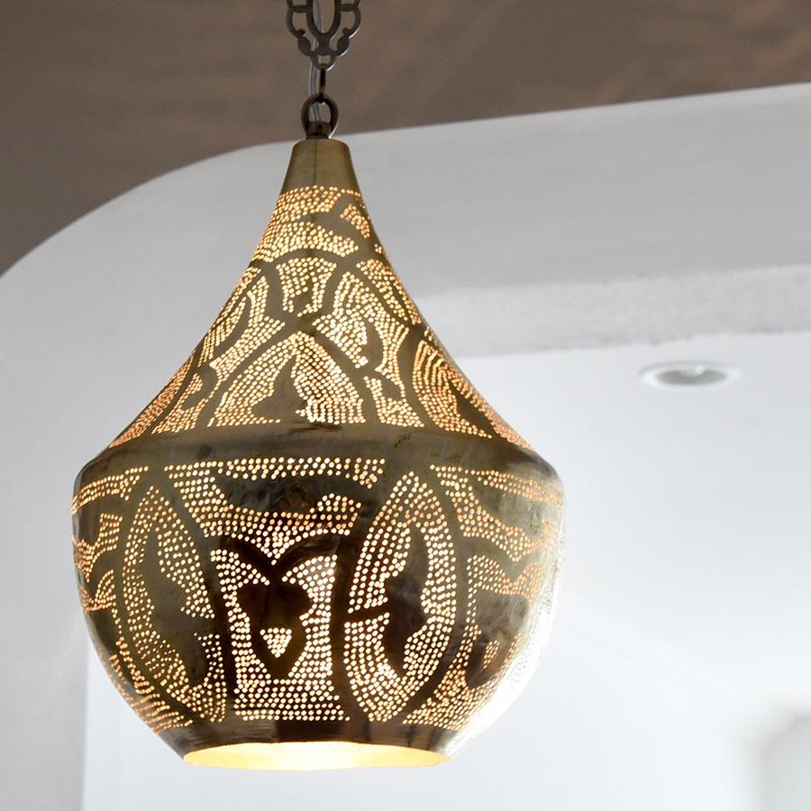 メタルシェード・モロッコランプΦ27cm/Tajine Moroccan Metal shade Lamps ペンダントランプタジン/ロータス グレー色 E17 25W ミニクリプトン電球付き エジプト製