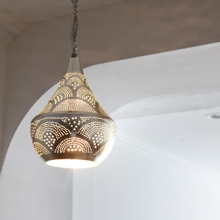 メタルシェード・モロッコランプΦ20cm/Tajine Moroccan Metal shade Lamps ペンダントランプタジン/レインボー グレー色 E17 25W ミニクリプトン電球付き エジプト製