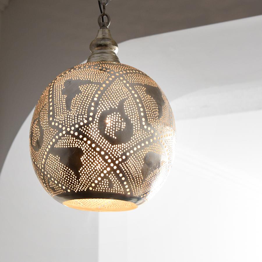 モロッコランプ/Moroccan Metal shade Lamps メタルシェード・ペンダントランプ エジプト製 φ22cmグレー色/ロータス E17型 25W 白熱電球付き