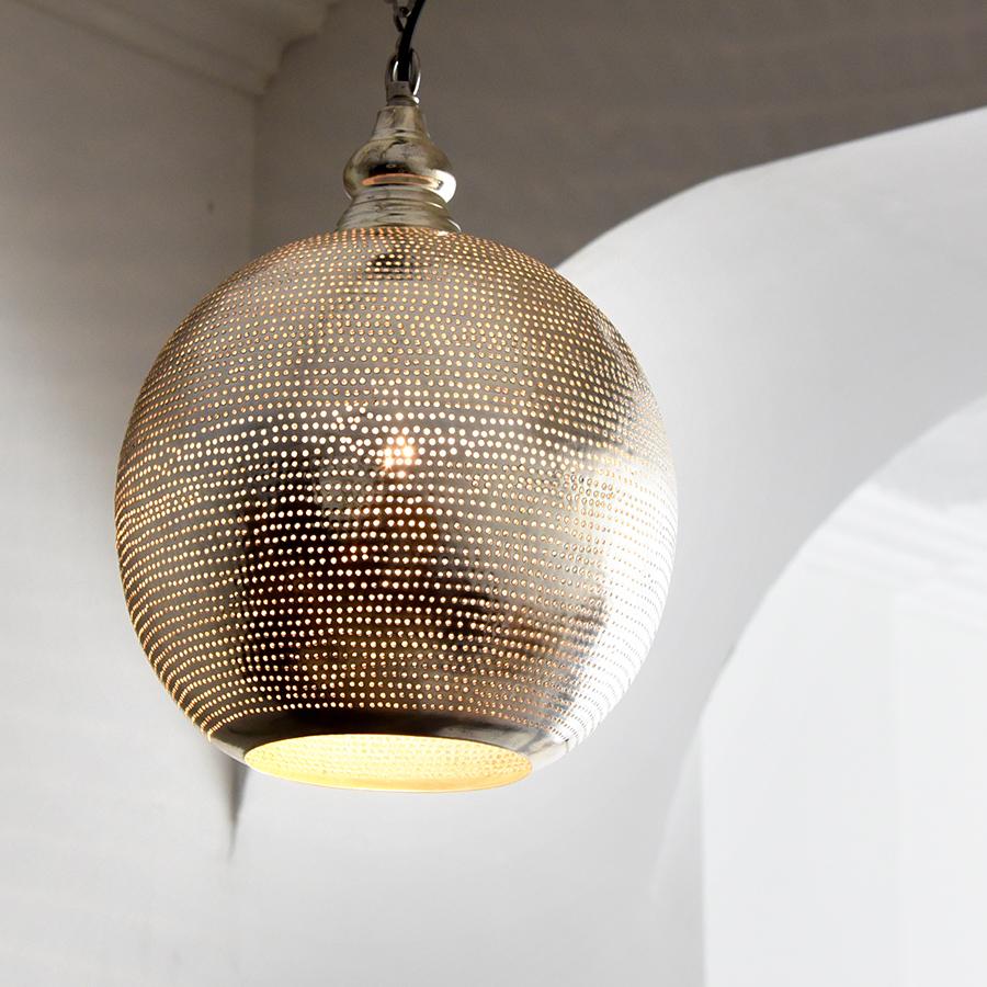 モロッコランプ/Moroccan Metal shade Lamps メタルシェード・ペンダントランプ エジプト製 φ22cmグレー色/ドット E17型 25W 白熱電球付き