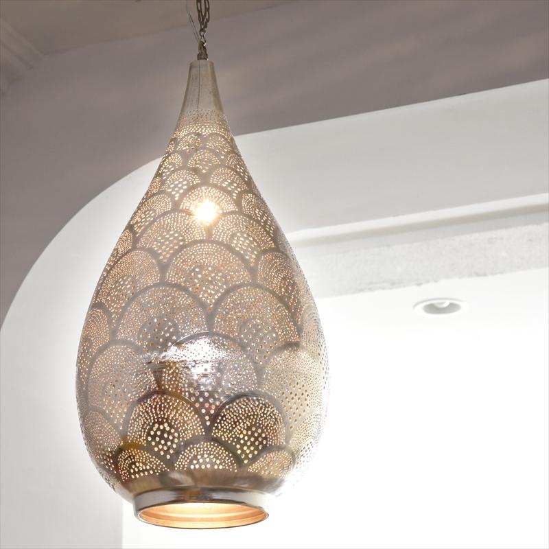 メタルシェード・モロッコランプ ペンダントライト /Moroccan Metal shade Lamps ペンダントランプ エジプト製 φ31cm/Raindropグレー色/レインボー E26型 40W 白熱電球付き