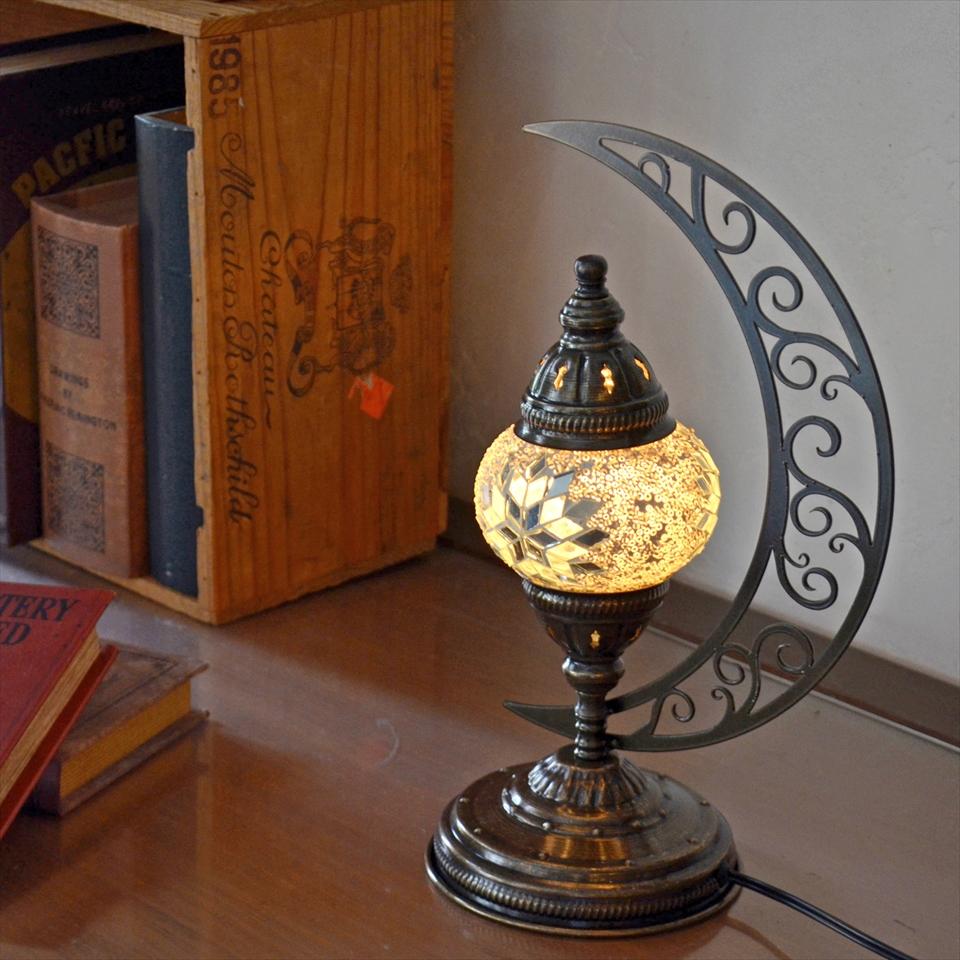 トルコランプ モザイクランプ テーブルランプ クレッセントムーン 高さ33cm ガラス直径11cm ホワイトスター E17/15W