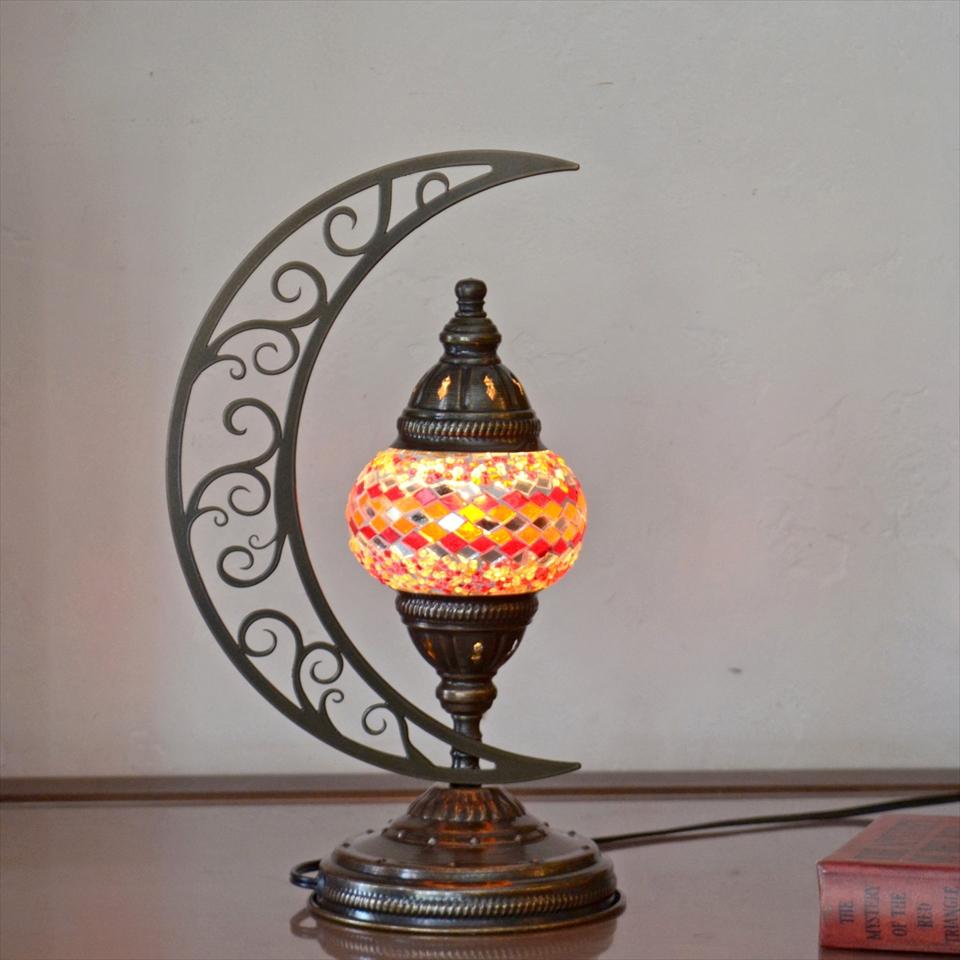 トルコランプ モザイクランプ テーブルランプ クレッセントムーン 高さ33cm ガラス直径11cm オレンジダイヤ E17/15W