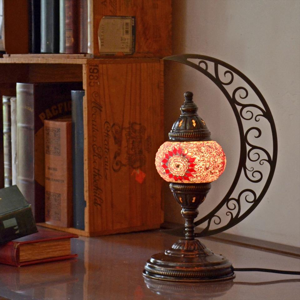 トルコランプ モザイクランプ テーブルランプ クレッセントムーン 高さ33cm ガラス直径11cm ピンクフラワー E17/15W