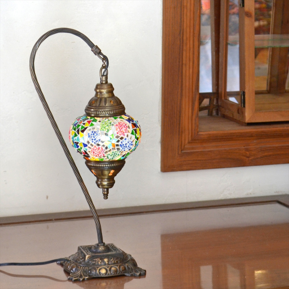 トルコランプ モザイクランプ テーブルスタンドランプ・ハンギング ガラスΦ13cmカラフルスター
