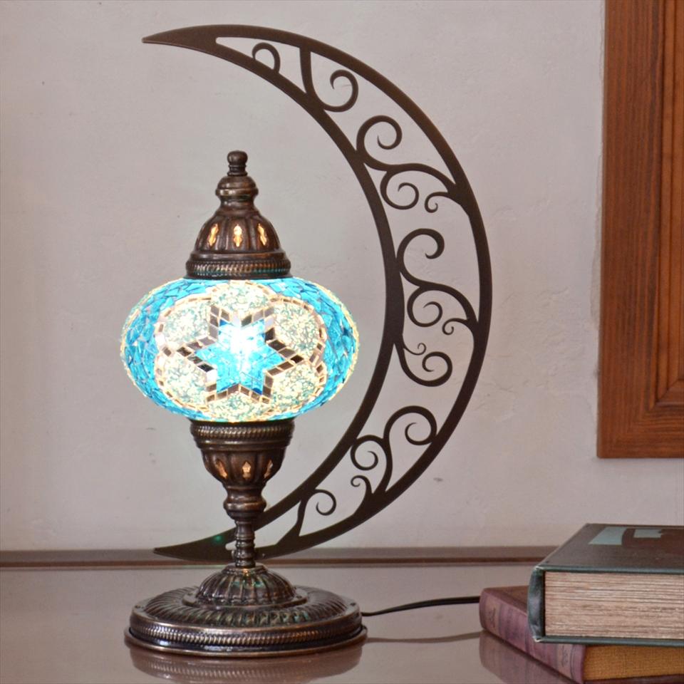 トルコランプ モザイクランプ テーブルランプ クレッセントムーン 高さ41cm ガラス直径16cm ブルースター E17/25W