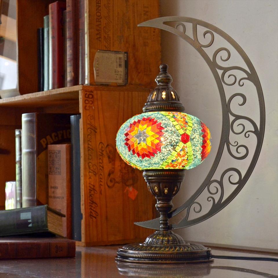 トルコランプ モザイクランプ テーブルランプ クレッセントムーン 高さ41cm ガラス直径16cm カラフルフラワー E17/25W