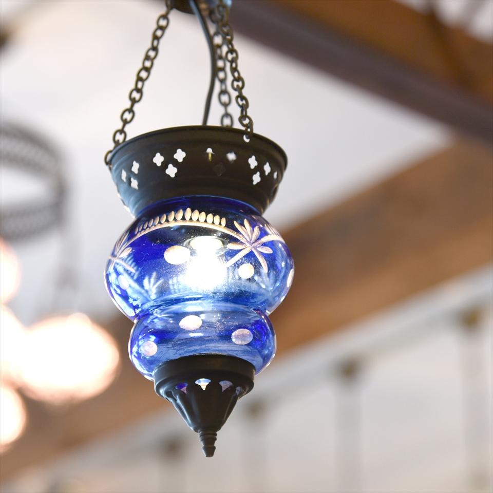 オットマンランプ 切子ガラス アルムット 吊り下げ型ペンダントライト/ブルーカラーE17 15W 白熱球付き