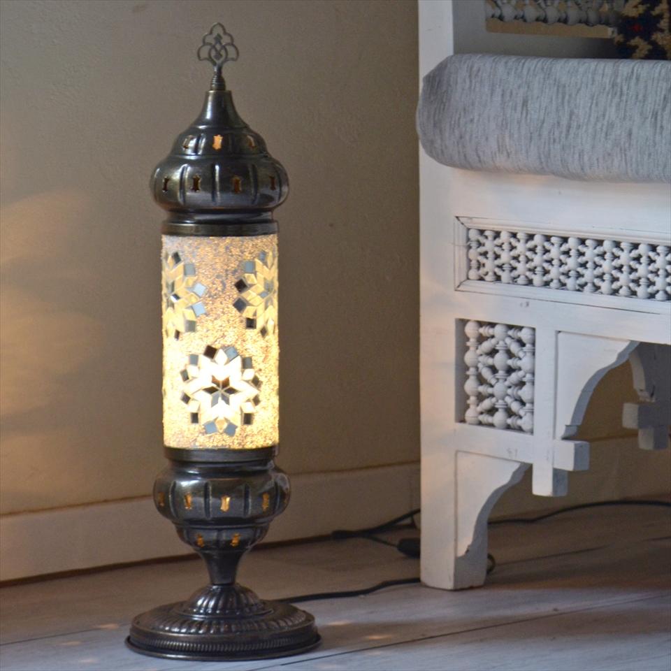 トルコランプ モザイクテーブルランプ シリンダー 全長54cm ホワイトフラワー E17/25W