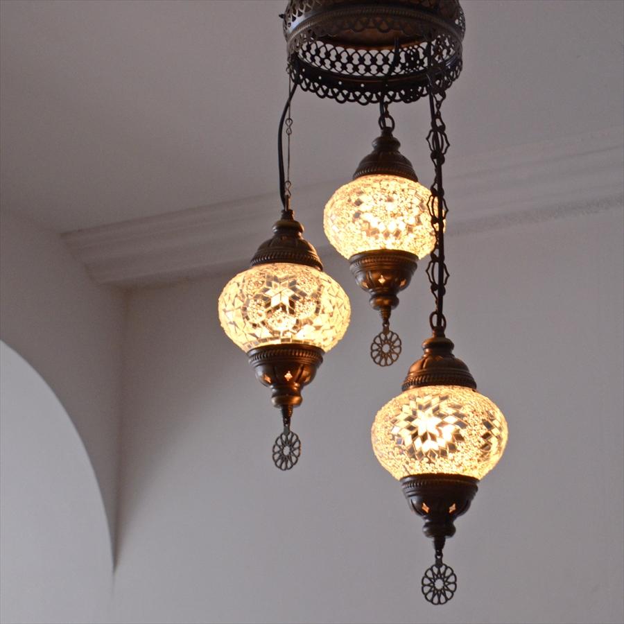 トルコランプ/モザイクガラスランプシャンデリア 3灯 ホワイトカラー E17/15W