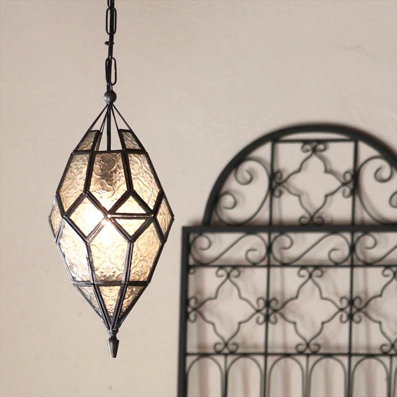 モロッコランプ・ガラスペンダントライト/キャンドルホルダー 多面体形ランプ多面体のレリーフガラス Morocco Lantern Candle holder/ 25W1灯 ペンダントランプ1灯