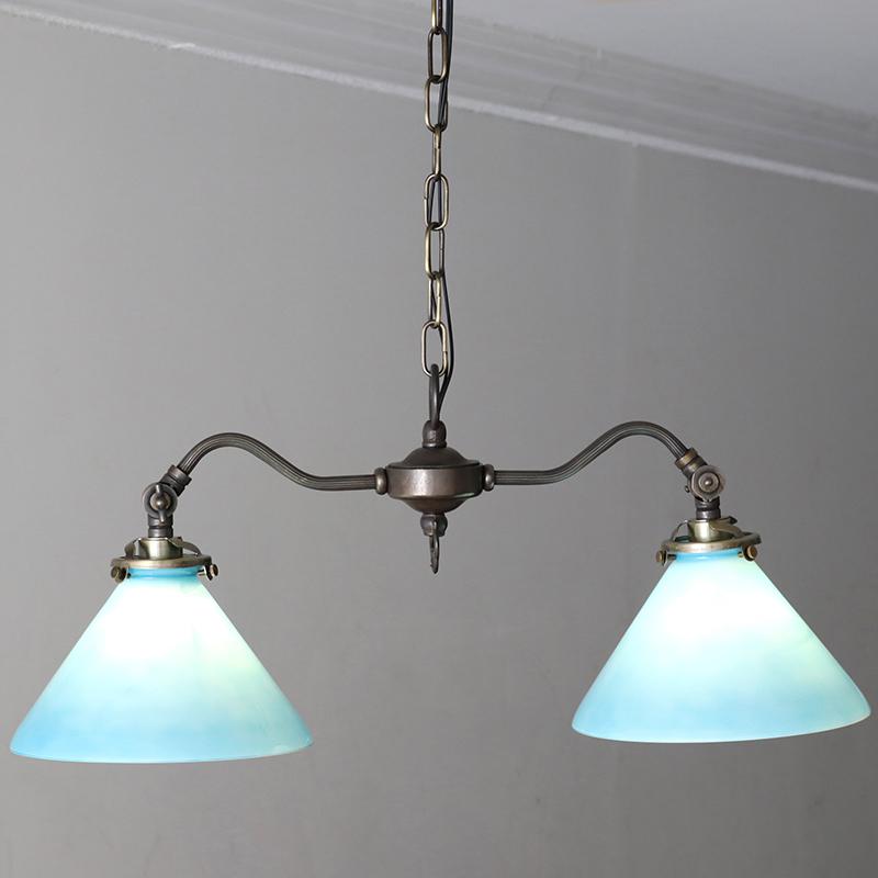 アンティーク調 ガラスシェード・シャンデリア・DORIS(ドリス)2灯・アンティークブロンズ色 60Wx2灯/E17電球2灯付属 LED電球対応