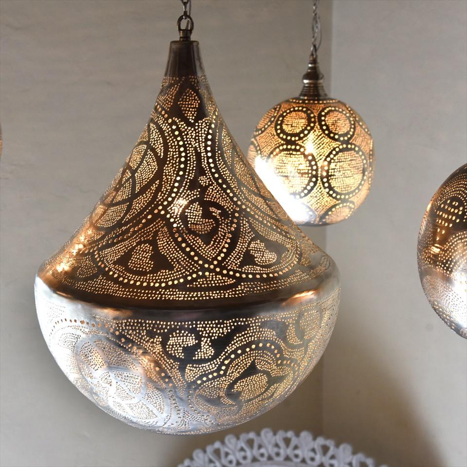モロッコランプ/Moroccan Metal shade Lamps メタルシェード・ペンダントランプ エジプト製/Tajine直径38cm シルバー色/ロータス E26 40W 白熱球付き