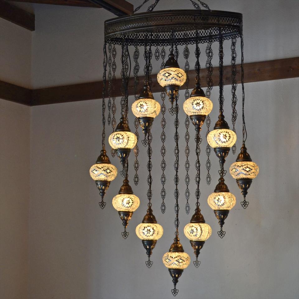 トルコランプ モザイクランプ モザイクガラスランプシャンデリア 12灯 ホワイト E17/15W 【天井工事必要】