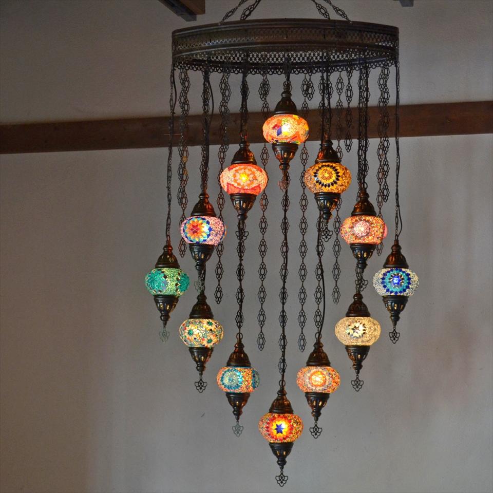 トルコランプ モザイクランプ モザイクガラスランプシャンデリア 12灯 ミックスカラー E17/15W 【天井工事必要】