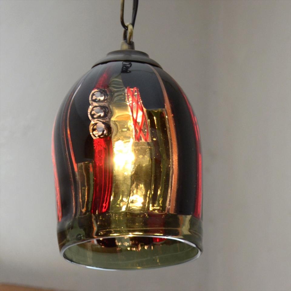 ベネチアンガラスシェード・ペンダントライト /Venetian Glass Shade Lightφ11cm/フィリグラーナ/黒・赤/E17・25W電球付属