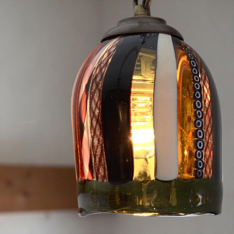 ベネチアンガラスシェード・ペンダントライト /Venetian Glass Shade Lightφ9.5cm/フィリグラーナ/黒・あめ色/E17・25W電球付属