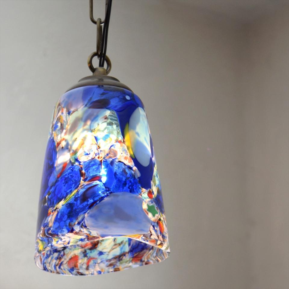 ベネチアンガラスシェード・ペンダントライト /Venetian Glass Shade Lightφ10.5cm/モネ/ブルー/E17・25W電球付属