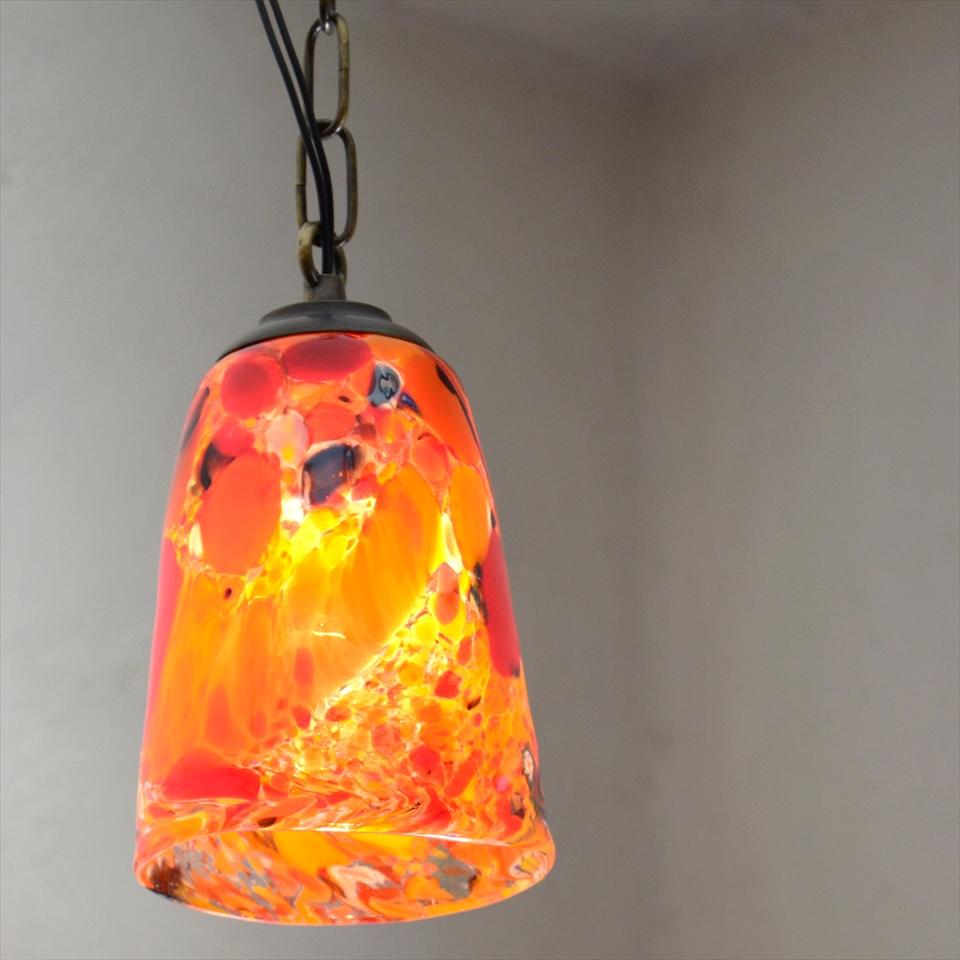 ベネチアンガラスシェード・ペンダントライト /Venetian Glass Shade Lightφ10cm/モネ/オレンジ/E17・25W電球付属