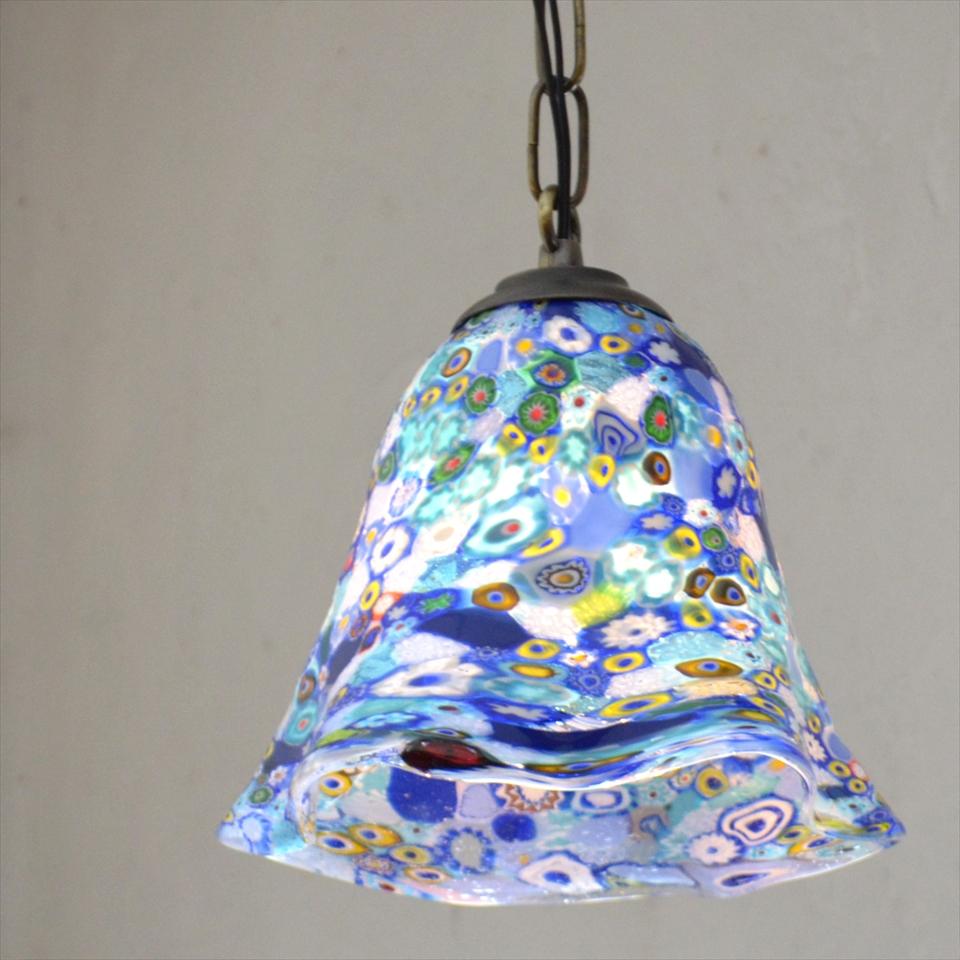 ベネチア ガラスランプ・ペンダントランプ /Venetian Glass Shade Lightφ18cm/ミルフィオリ/ブルー/E17・25W電球付属