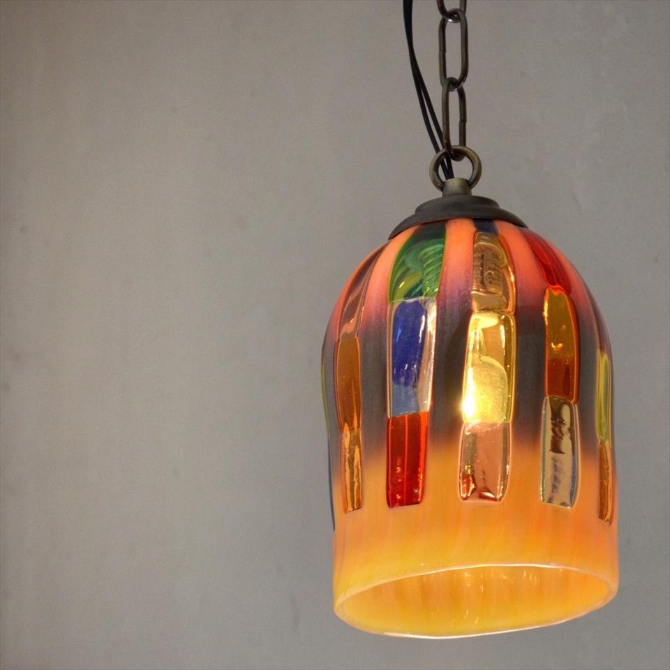 ベネチア ガラスシェード・ペンダントライト /Venetian Glass Shade Lightφ11.5cm/細長いカラフルタイルとクリーム/E17・25W電球付属