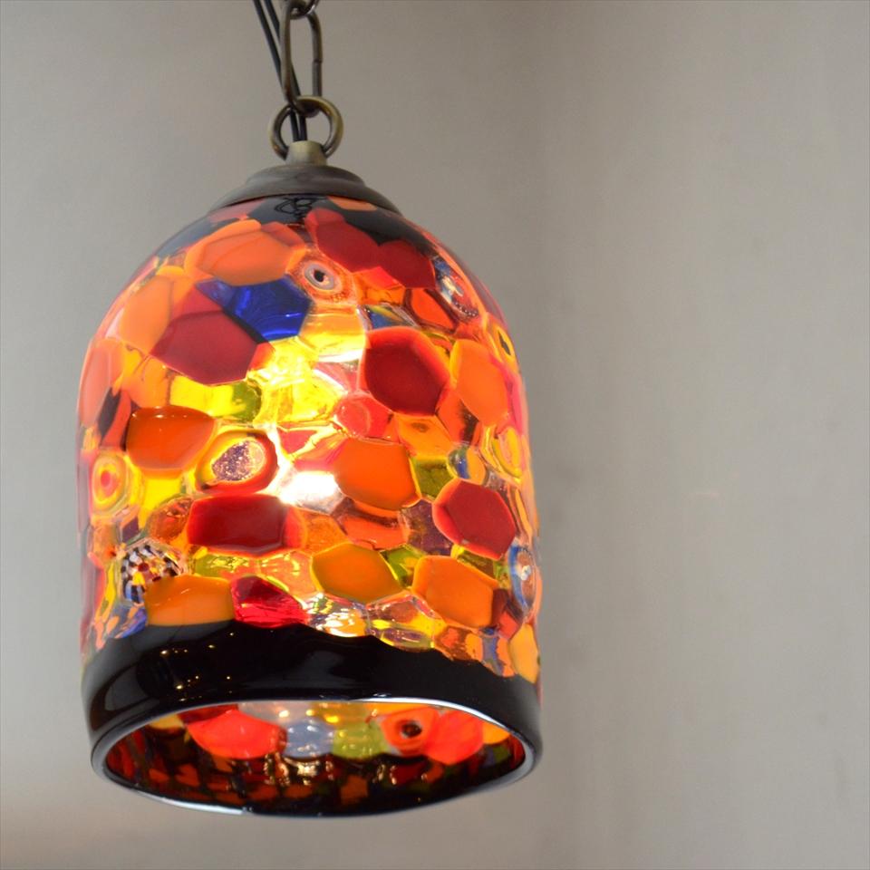ベネチア ガラスシェード・ペンダントライト /Venetian Glass Shade Lightφ12.5cm/autunno/E17・25W電球付属