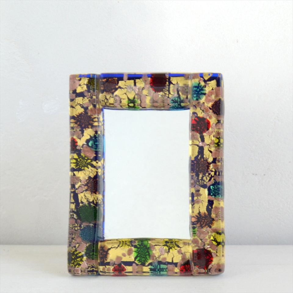 ベネチア ガラス・スタンドミラー フォトフレーム/13.5×10.5cm コバルトブルー&ゴールド/赤・青・緑・黄色