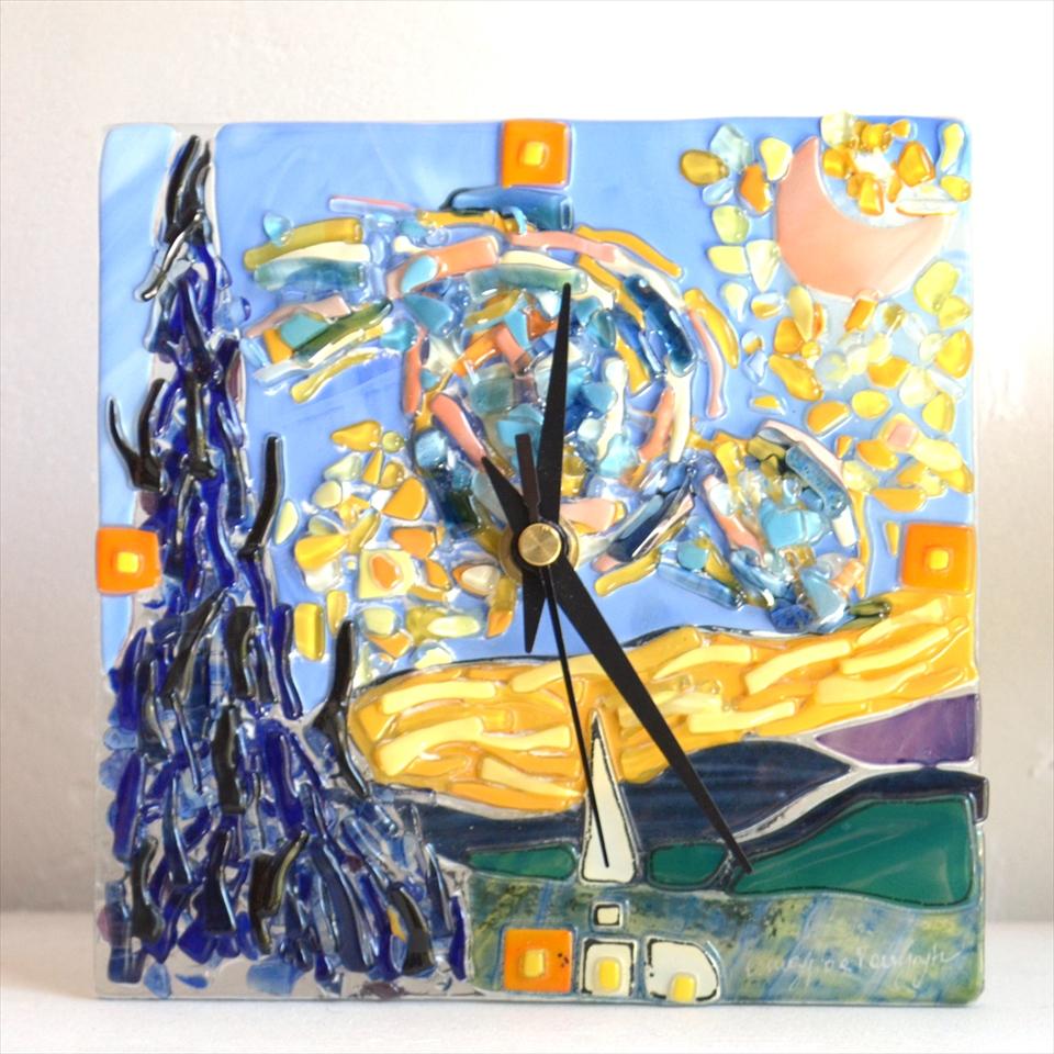 イタリア製 ガラスの置時計ゴッホ 「星月夜」