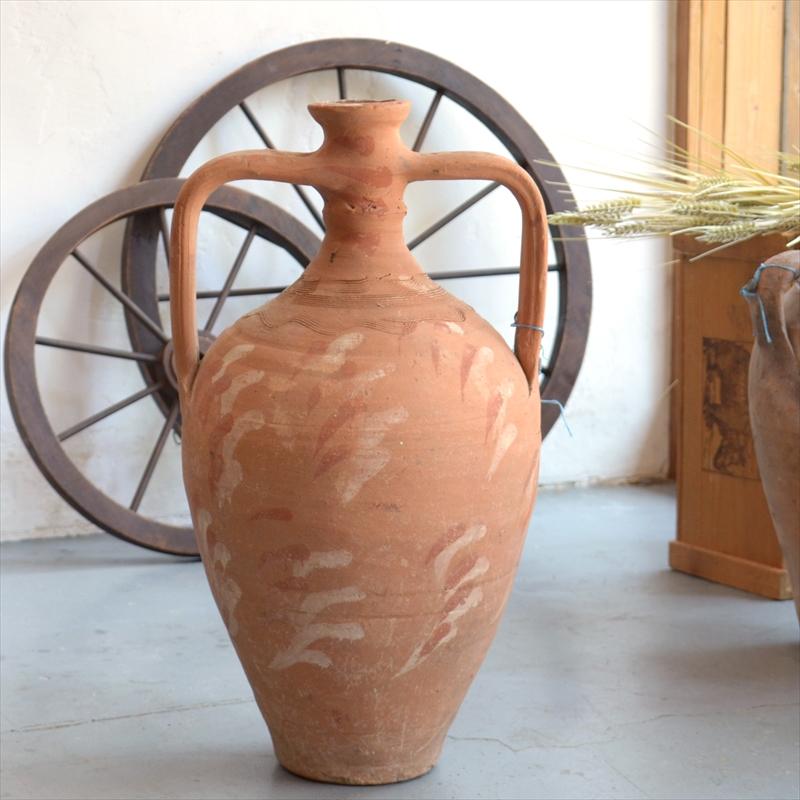 アンフォラテラコッタ、白とオレンジのデコレーション OUTLET・サンプル品