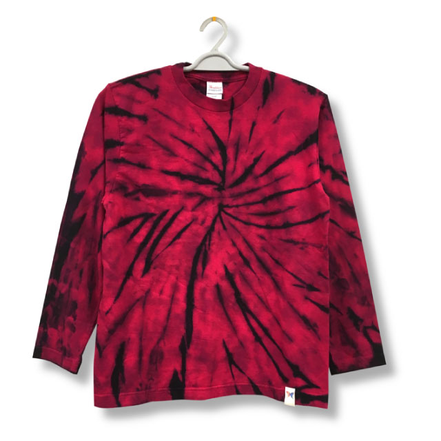 Kimidori Pollution Red Tie Dye Long Sleeve T Shirt And Uneven Dye