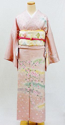 【レンタル 送料無料】 正絹訪問着フルセット「ピンク地に優しい桜々 訪問着 LLサイズ」  ~入学式・パーティ・七五三に~