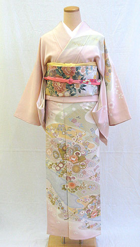 Silk houmongi full set ' pink ground hannari classical pattern visiting l ' ~ entrance ceremony, party, 七五三-