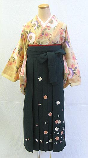 【レンタル 送料無料】 小紋・袴フルセット  「ベージュ地に優しい八重桜」  ~思い出に残る卒業式に~