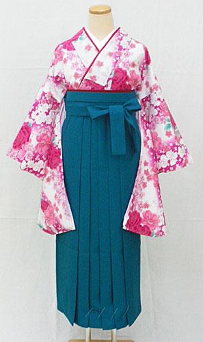 【レンタル 送料無料】 小振袖・袴フルセット  「白地に艶やか花々」  ~思い出に残る卒業式に~