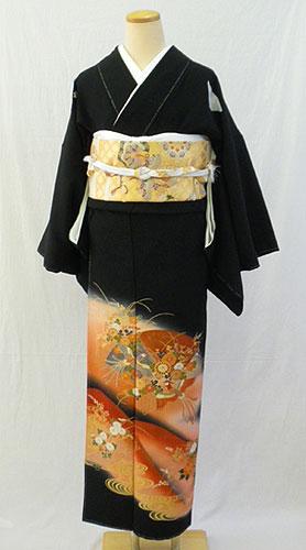 【レンタル 送料無料】 正絹黒留袖フルセット  「鳳凰に茜霞 黒留袖」 ~ご親族の結婚式に~