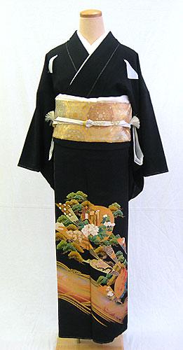 【レンタル 送料無料】 正絹黒留袖フルセット  「平安王朝に波文様 黒留袖」 ~ご親族の結婚式に~