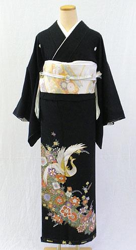 【レンタル 送料無料】 正絹黒留袖フルセット  「鳳凰に正倉院文様 黒留袖」 ~ご親族の結婚式に~
