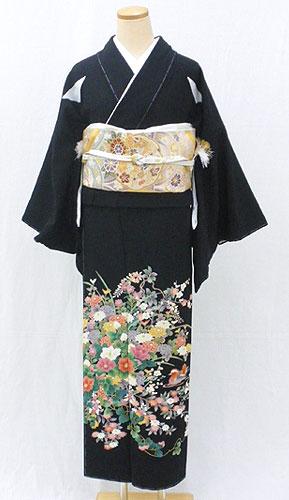 【レンタル 送料無料】 正絹黒留袖フルセット  「四季草花におしどり 黒留袖」 ~ご親族の結婚式に~