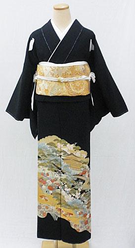 【レンタル 送料無料】 正絹黒留袖セット  「京景色 黒留袖」 ~ご親族の結婚式に~