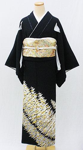 【レンタル 送料無料】 正絹黒留袖フルセット  「金彩千羽鶴 黒留袖」 ~ご親族の結婚式に~