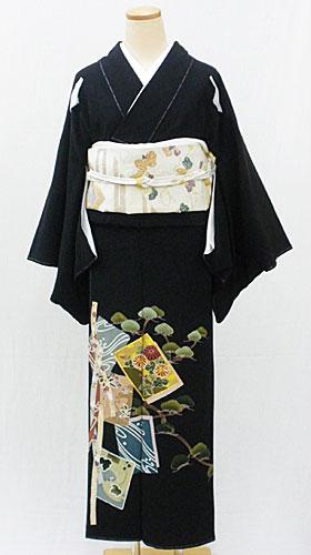 【レンタル 送料無料】 正絹黒留袖セット  「色紙に松 黒留袖」 ~ご親族の結婚式に~