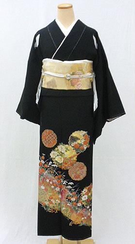 【レンタル 送料無料】 正絹黒留袖フルセット  「花雪輪文様 黒留袖」 ~ご親族の結婚式に~