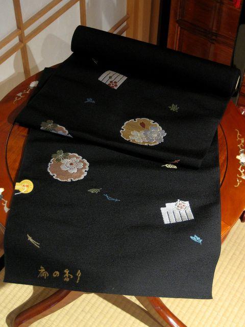 名古屋帯 都の香り 桜に雪輪 黒【smtb-k】【ky】