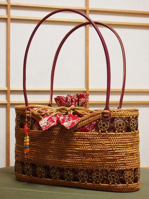 巾着付アタバッグ ヤシの実の殻の装飾付 赤【アタ製品】【トートバッグ】【手提げバッグ】