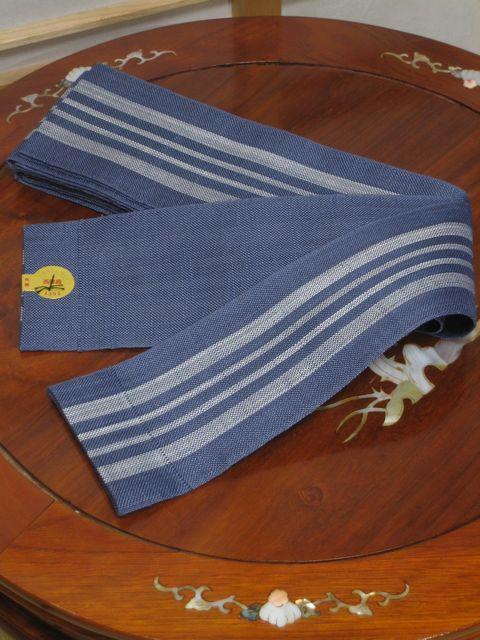 麻の角帯 薄い紺に白【角帯】【麻】【送料無料】【smtb-k】【ky】 帯 着物