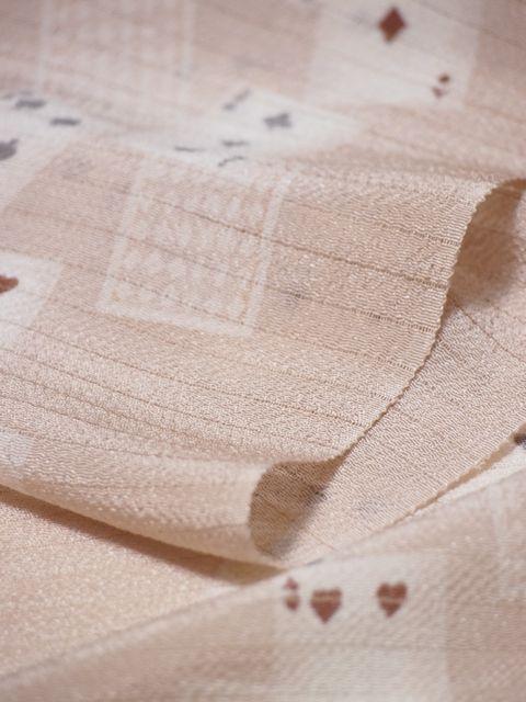 正絹横絽縮緬帯揚げ トランプ柄 マロン色【帯あげ】【絹100%】
