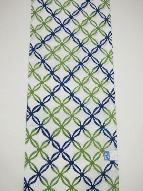 竺仙鑑製浴衣地 綿絽 絣七宝繋 白地に青と緑のぼかし ちくせんゆかたしっぽう夏祭り送料無料smtb kky8OwnkX0P