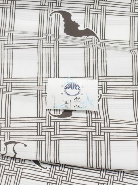 竺仙鑑製浴衣地 綿コーマ 注染染め 格子柄にコウモリ 白地にダークオリーブ キングサイズ【ちくせん】【ゆかた】【夏祭り】【蝙蝠】【送料無料】【smtb-k】【ky】
