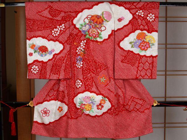 女児用産着 絞り刺繍 手毬と四季の花々 赤【smtb-k】【ky】