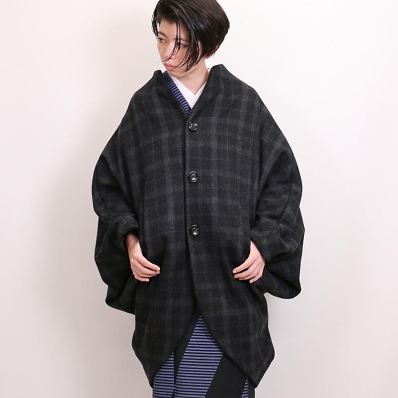 和装ウールコート「Edge エッジ」 「グレーチェック」 着物コート【日本製】【Kimono Factory nono のの キモノファクトリーノノ】
